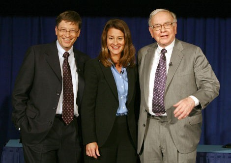 Билл и Мелинда Гейтс с Уорреном Баффеттом